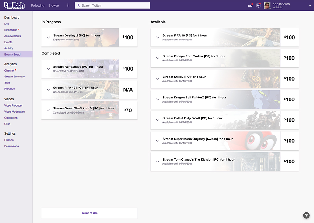 Bounty Board Twitch